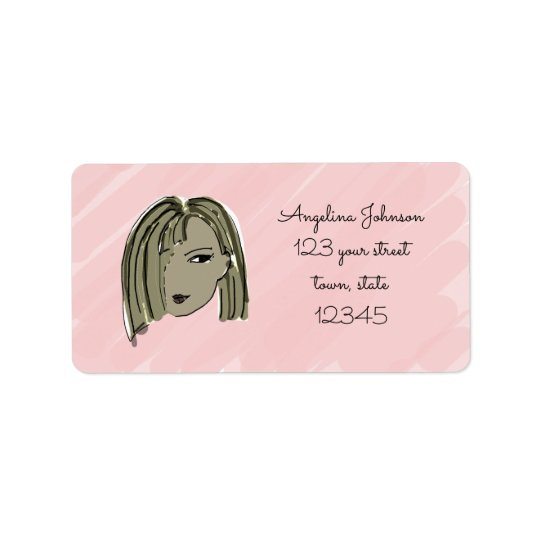Dark Hair Girl Address Label