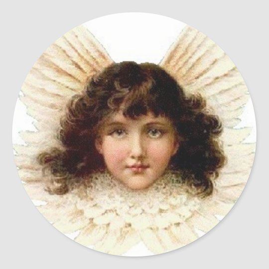 Dark Haired Angel Classic Round Sticker