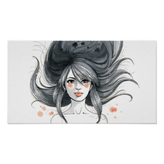 Dark Haired Blowing Hair Woman Poster