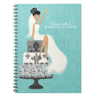 Dark Haired Bride on Wedding Cake aqua Notebooks