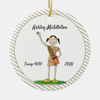 Dark Haired Brownie Girl Scouting Brown Stripes Ceramic Ornament