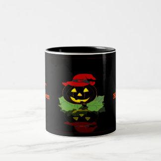 Dark Halloween Pumpkin Two-Tone Coffee Mug