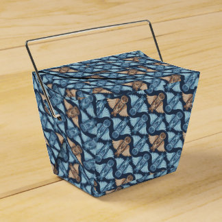 Dark hand-drawn abstract Owl pattern Favor Boxes