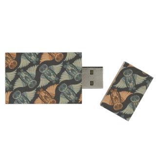 Dark hand-drawn abstract Owl pattern Wood USB 2.0 Flash Drive