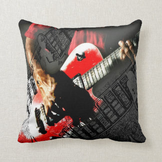 Dark hands guitar layered red image throw pillow