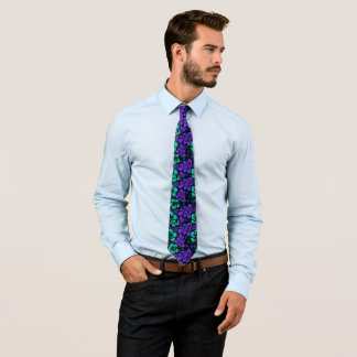 Dark Hawaiian Love Child Flower Splash Tie