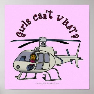 Dark Helicopter Pilot Girl Poster