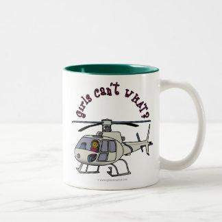 Dark Helicopter Pilot Girl Two-Tone Coffee Mug
