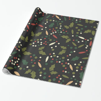 Dark Holiday Dots Holly Leaves Christmas Wrapping Paper