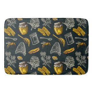 Dark Honey Bee Beehive Yellow Vintage Organic Chic Bath Mat