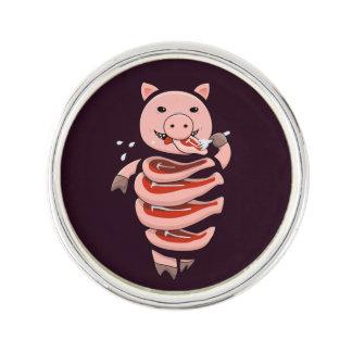 Dark Hungry Self Eating Cut In Steaks Pig Lapel Pin