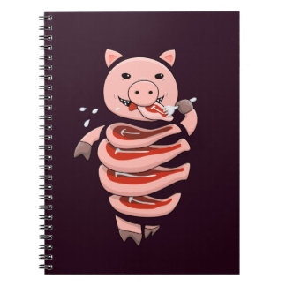 Dark Hungry Self Eating Cut In Steaks Pig Notebook