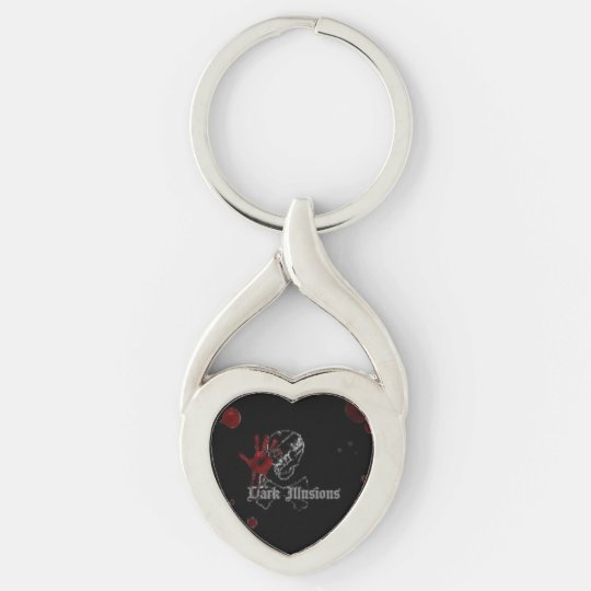 Dark Illusions Twisted Heart Key Fob Silver-Colored Twisted Heart Keychain