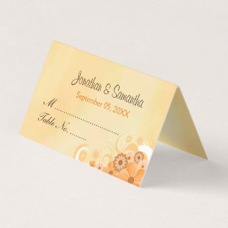 Dark Ivory Gold Hibiscus Floral Folded Table Place Card
