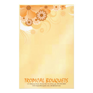 Dark Ivory Gold Hibiscus Florist Writing Paper
