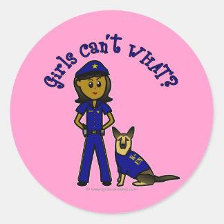 Dark K9 Police Girl Round Sticker