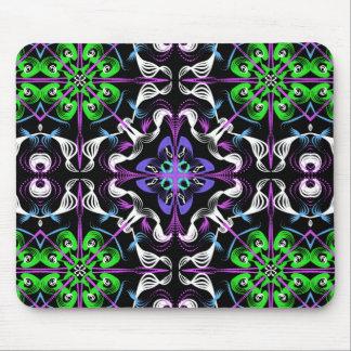 Dark Kaleidoscope Mandala Green Purple White Black Mouse Pad