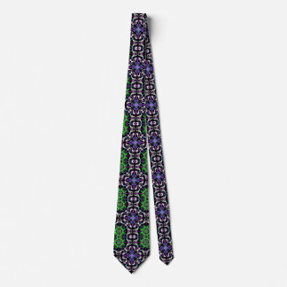 Dark Kaleidoscope Mandala Green Purple White Black Tie