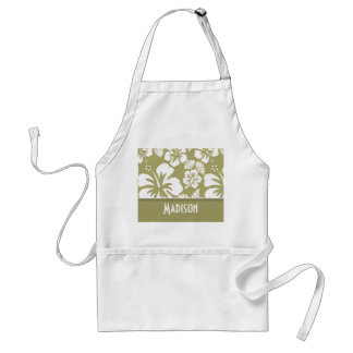 Dark Khaki Tropical Hibiscus; Personalized Adult Apron