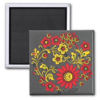 Dark Large Red Flowers Hohloma Square Magnet