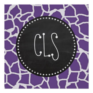 Dark Lavender Giraffe Print Retro Chalkboard