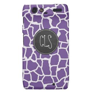 Dark Lavender Giraffe Print; Retro Chalkboard Motorola Droid RAZR Cover