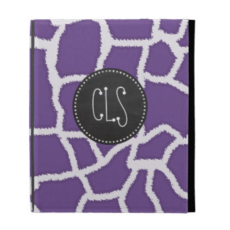 Dark Lavender Giraffe Print Retro Chalkboard iPad Cases