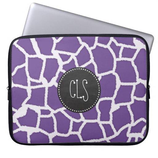 Dark Lavender Giraffe Print; Retro Chalkboard Laptop Computer Sleeve