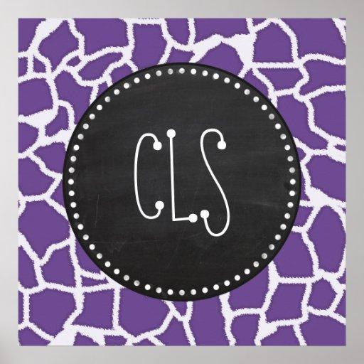Dark Lavender Giraffe Print; Retro Chalkboard