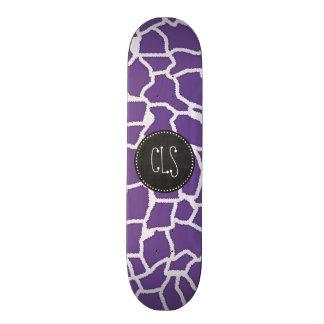 Dark Lavender Giraffe Print; Retro Chalkboard Skateboard Decks