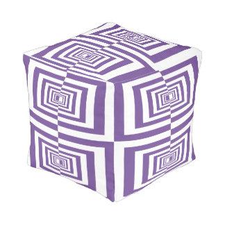 Dark Lavender Purple and White Modern Geometric Pouf