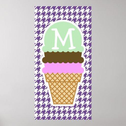 Dark Lavender, Purple Houndstooth; Ice Cream Poster