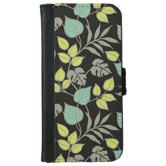 Dark Leaf Pattern iPhone 6 Wallet Case