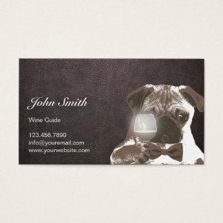 Dark Leather Sir Pug Wine Tasting Business Card
