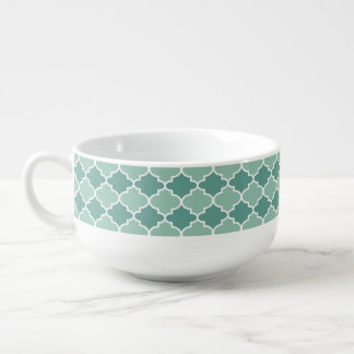 Dark & Light Blue Moroccan Pattern Soup Bowl Soup Bowl With Handle