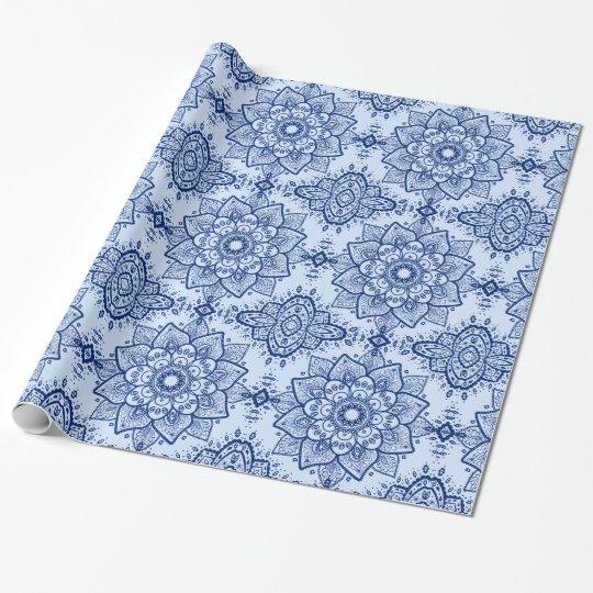 Dark & Light Blue Paisley Mandala Seamless Pattern Wrapping Paper