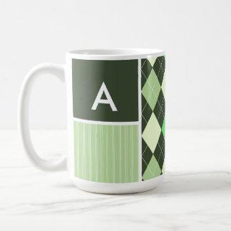 Dark & Light Green Argyle Pattern Coffee Mugs