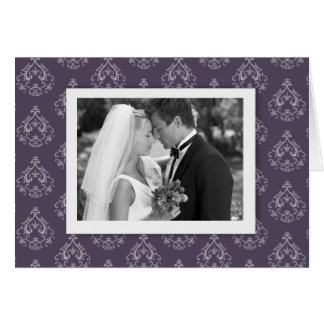 Dark Lilac Damask Photo Thank you Card