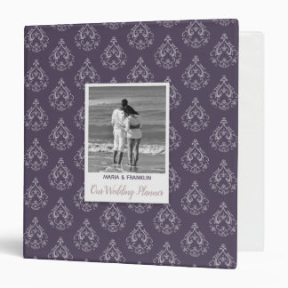"Dark Lilac Damask Wedding Planner 1.5"" Binder"