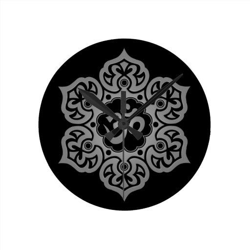Dark Lotus Flower Om Wallclock
