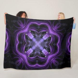 Dark Lotus Wolf Shaman Spirit Wheel Mandala Fleece Blanket