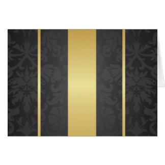 Dark Luxury Floral Damask With Golden Stripes Card