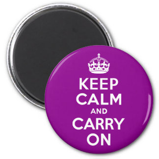 Dark Magenta Keep Calm and Carry On Magnet