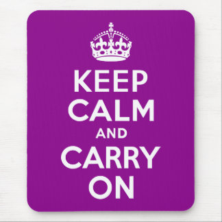 Dark Magenta Keep Calm and Carry On Mouse Pad