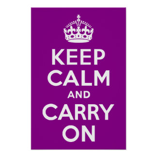 Dark Magenta Keep Calm and Carry On Poster