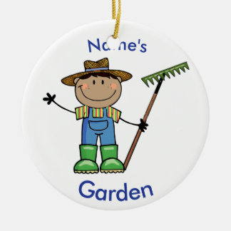 Dark Male Gardener in Overalls & Boots Ceramic Ornament