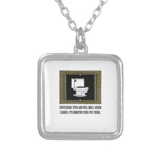 dark male parts joke silver plated necklace
