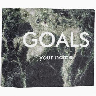 Dark Marble Goals  Design 3 Ring Binders