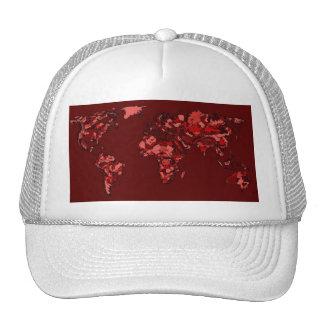 Dark maroon earth map trucker hat