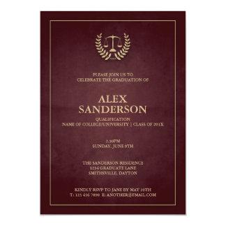 Dark Maroon+Gold Law School/Legal Graduation Card
